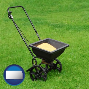 a lawn fertilizer spreader - with Kansas icon