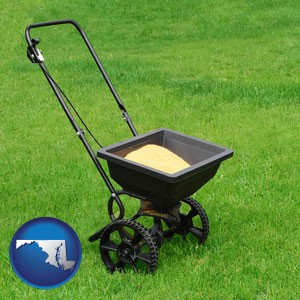 a lawn fertilizer spreader - with Maryland icon