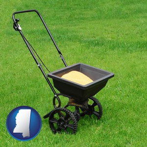 a lawn fertilizer spreader - with Mississippi icon