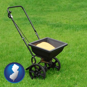 a lawn fertilizer spreader - with New Jersey icon