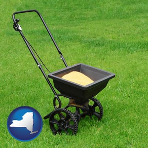 a lawn fertilizer spreader - with New York icon
