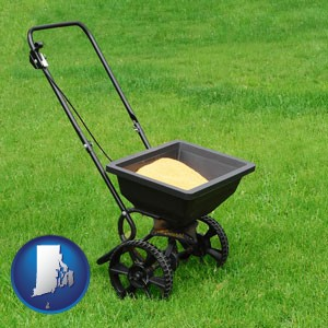 a lawn fertilizer spreader - with Rhode Island icon