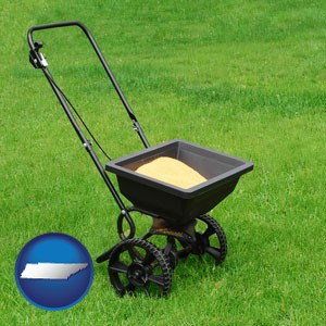 a lawn fertilizer spreader - with Tennessee icon