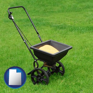 a lawn fertilizer spreader - with Utah icon