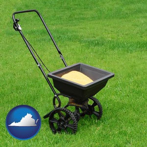 a lawn fertilizer spreader - with Virginia icon