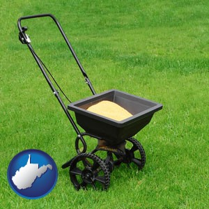 a lawn fertilizer spreader - with West Virginia icon