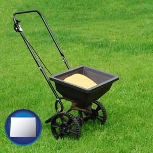 a lawn fertilizer spreader - with Wyoming icon