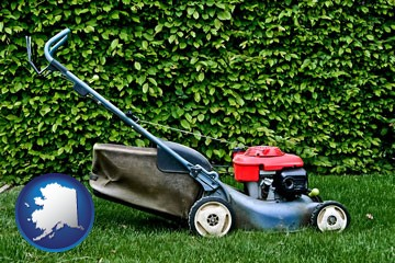 a power lawn mower - with Alaska icon