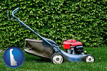 a power lawn mower - with Delaware icon