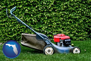 a power lawn mower - with Florida icon