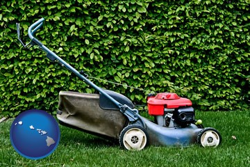 a power lawn mower - with Hawaii icon