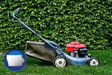 a power lawn mower - with Iowa icon