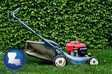 a power lawn mower - with Louisiana icon