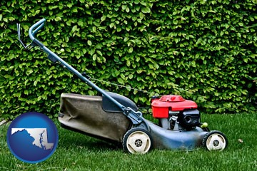 a power lawn mower - with Maryland icon
