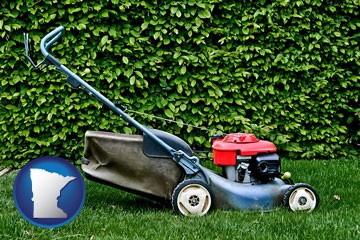 a power lawn mower - with Minnesota icon
