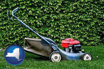 a power lawn mower - with New York icon