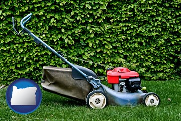 a power lawn mower - with Oregon icon
