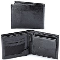 a black leather wallet