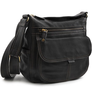 a black leather handbag with shoulder strap