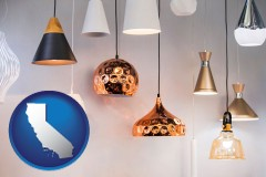 california map icon and pendant lighting fixtures