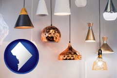 washington-dc map icon and pendant lighting fixtures