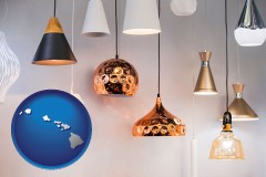 hawaii map icon and pendant lighting fixtures