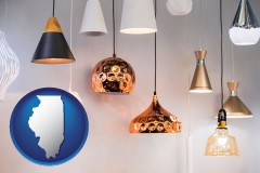 illinois map icon and pendant lighting fixtures