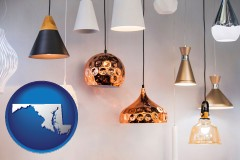 maryland map icon and pendant lighting fixtures
