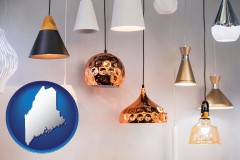 maine map icon and pendant lighting fixtures