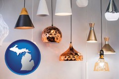 michigan map icon and pendant lighting fixtures