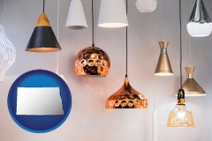 north-dakota map icon and pendant lighting fixtures