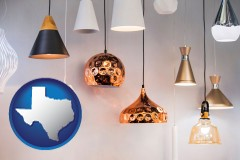 texas map icon and pendant lighting fixtures