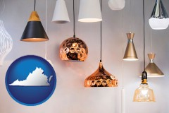 virginia map icon and pendant lighting fixtures