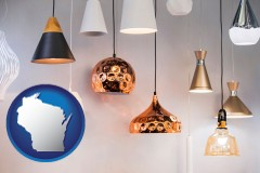wisconsin map icon and pendant lighting fixtures