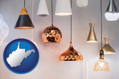 west-virginia map icon and pendant lighting fixtures