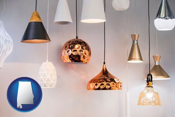 pendant lighting fixtures - with Alabama icon