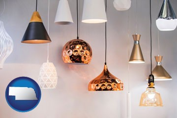 pendant lighting fixtures - with Nebraska icon