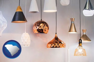 pendant lighting fixtures - with South Carolina icon