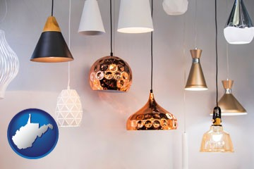 pendant lighting fixtures - with West Virginia icon