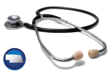 a stethoscope - with Nebraska icon