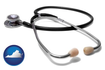 a stethoscope - with Virginia icon