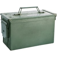 a military-green metal bullet box