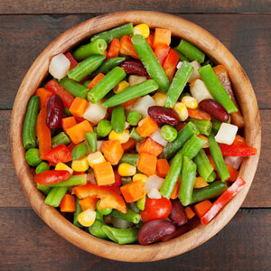 a bowl of colorful mixed vegetables