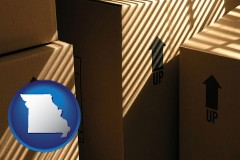missouri map icon and moving boxes