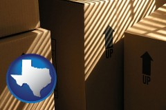 texas map icon and moving boxes