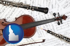 idaho map icon and classical musical instruments