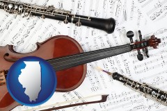 illinois map icon and classical musical instruments