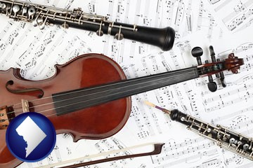 classical musical instruments - with Washington, DC icon