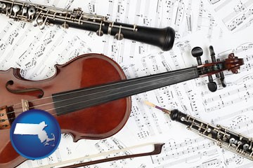 classical musical instruments - with Massachusetts icon