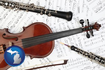 classical musical instruments - with Michigan icon
